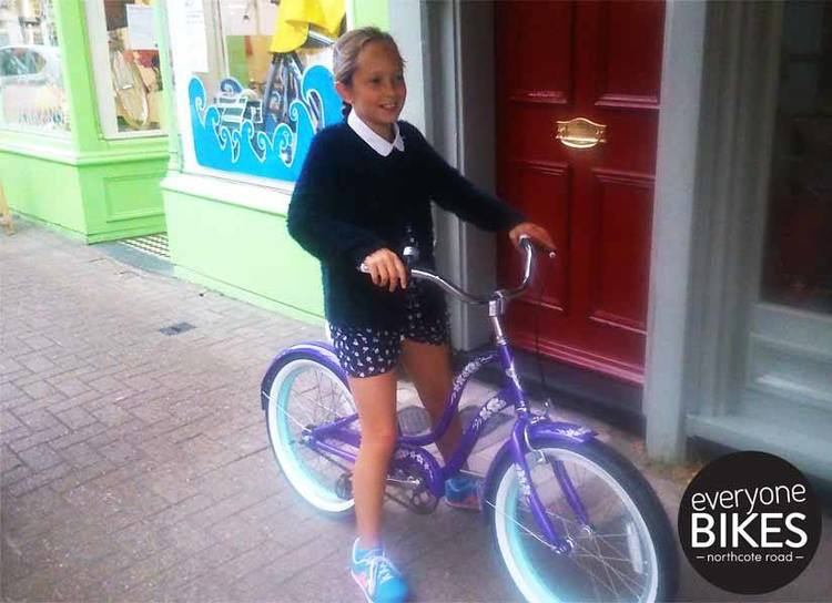 This little lady picked up her amazing purple Electra Bicycle Company today. SO cute! Happy riding X