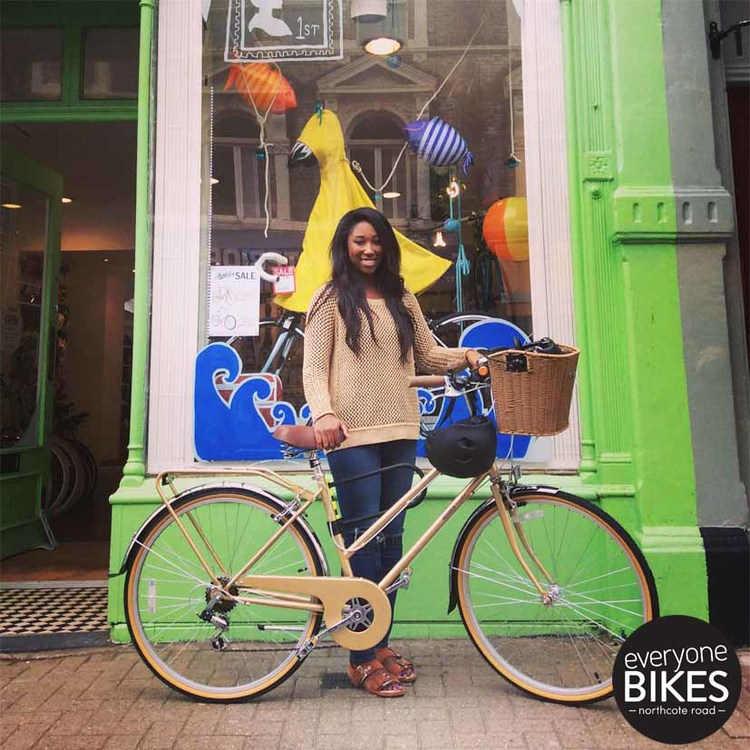 Another happy customer! Angel with her new Bobbin Bicycles Bramble and Bern lid. Suits her perfectly, enjoy.