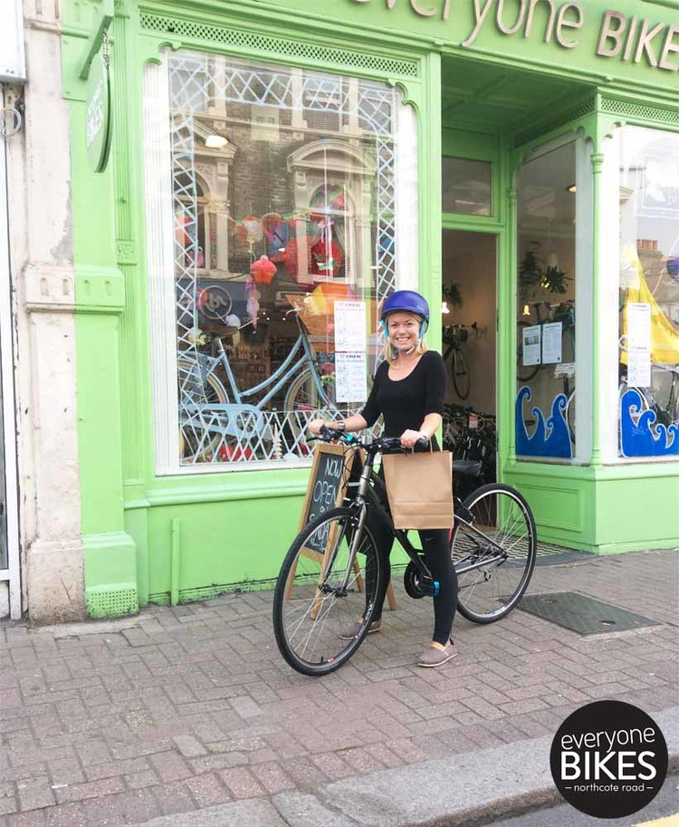 Here's the lovely Louise with her Trek 7.1FX bike and Bern lid.