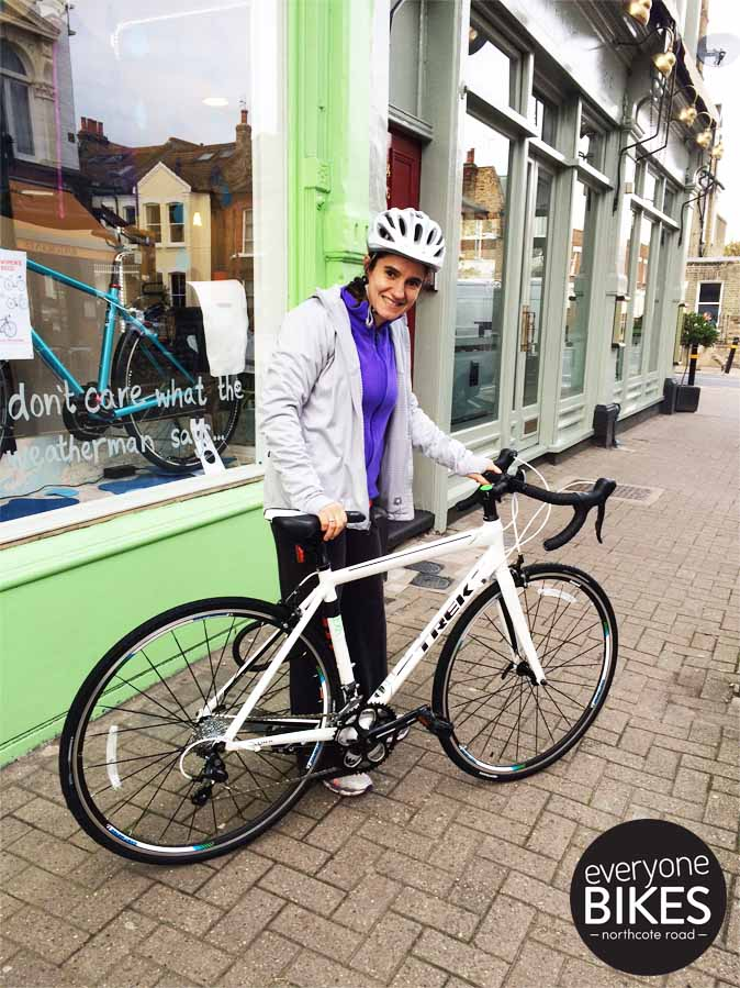 Marisol just picked up her new Trek Lexa S & WHAT A BEAUTY. This road bike is super light & crazy fast! #HappyRiding