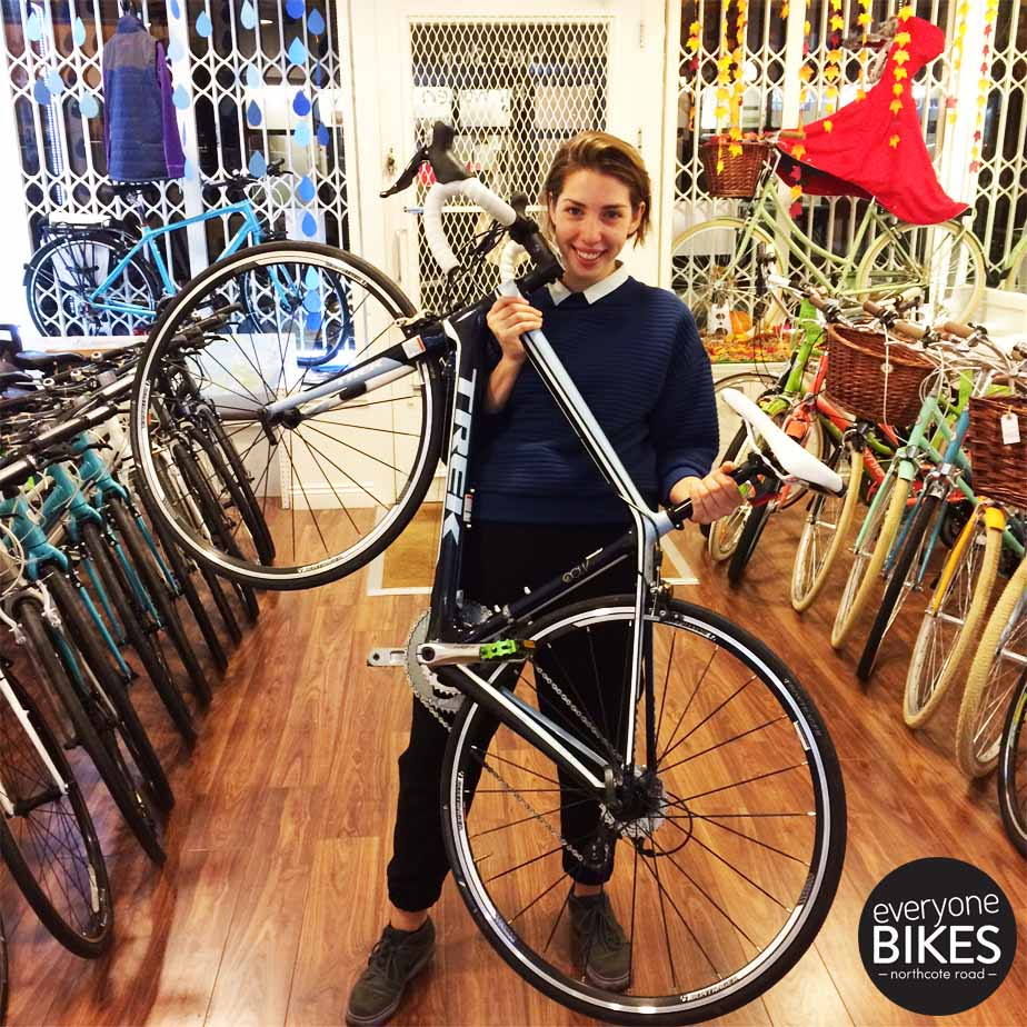 Nicole with her new Trek 3.1 WSD carbon road bike!
