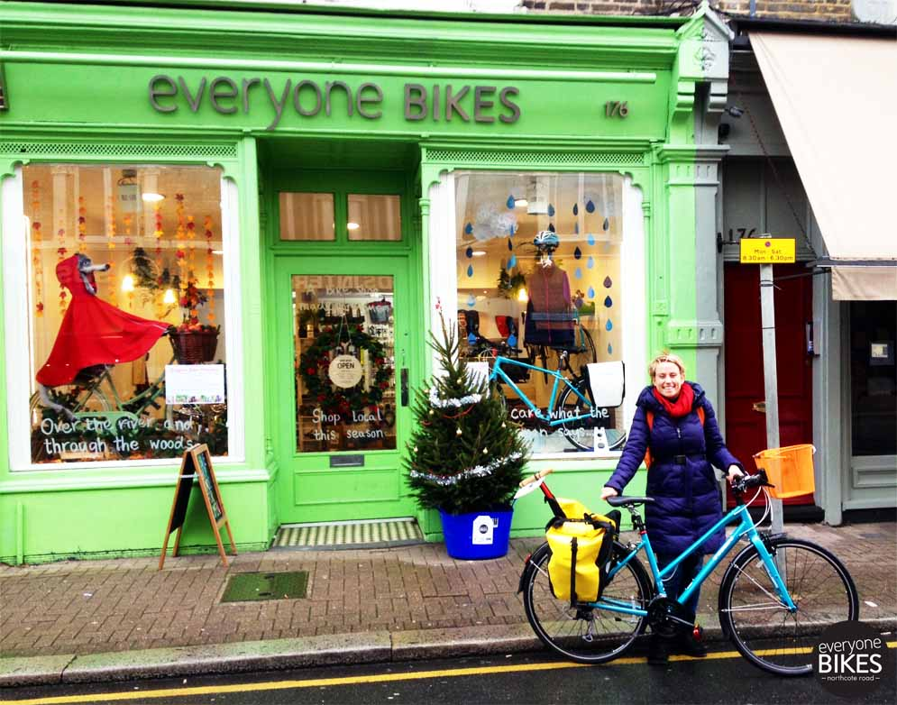 Charlie just picked up her new Trek Bicycle 7.3, Basket, #Ortlieb Bag & Lezyne Pump!