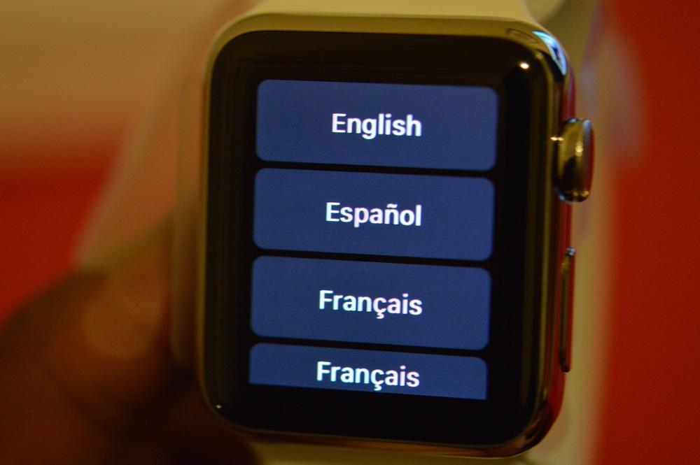 Apple Watch language menu