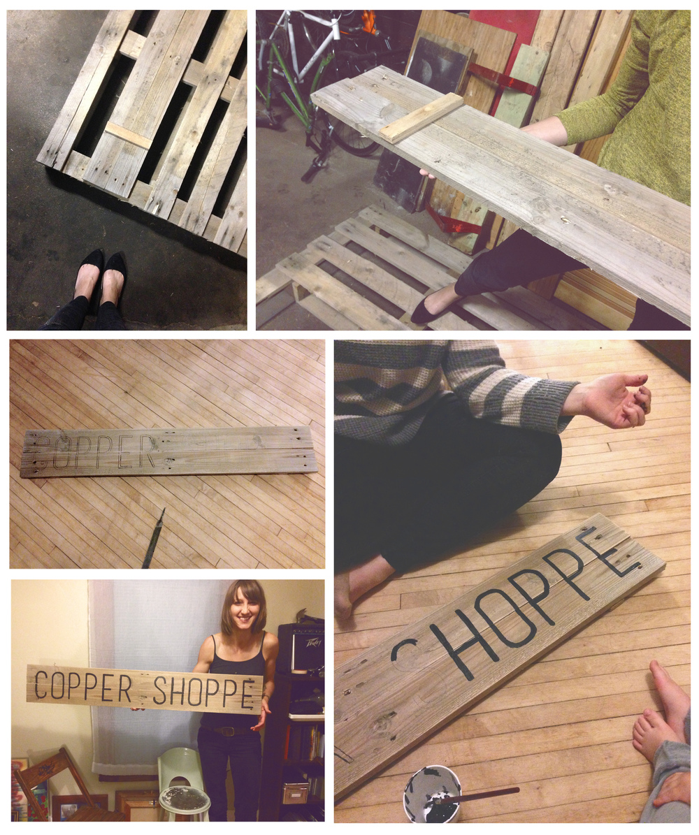 Our style is born out of simple resourcefulness, armed with creativity and a projector we transform a pallet into our very first sign.