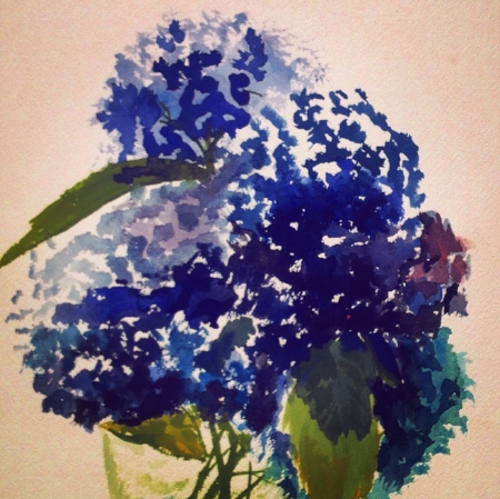 "Hydrangeas, 10' x 14"", Watercolor"