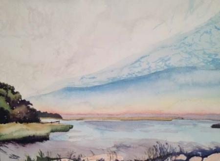 "Stony Brook Harbor #2, 8.5"" x 11"", Watercolor (SOLD)"