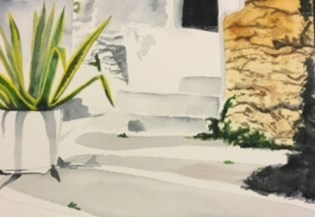 """Greece, 12"""" x 9"""", Watercolor (Not For Sale)"""