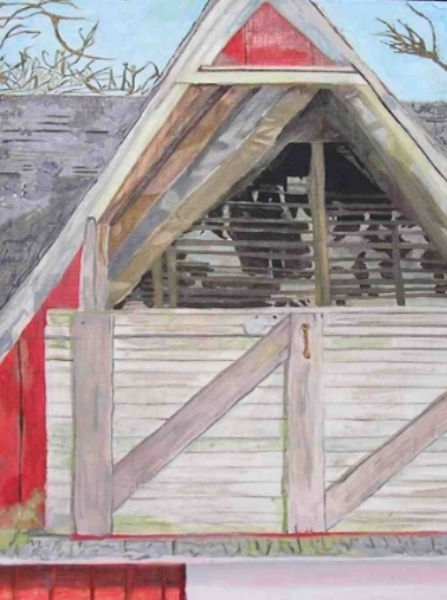 """First Barn, 18"""" x 11"""", Oil on Wood"""