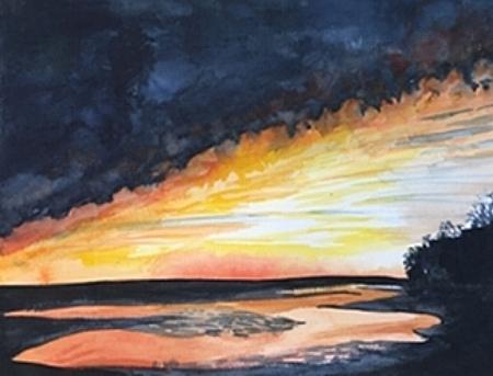 """Stony Brook Orange, 12"""" x 19"""", Watercolor"""