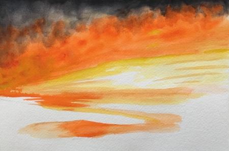 """Empty Landscape,  7"""" x 10"""", Watercolor"""