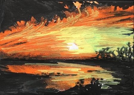"Stony Brook Orange 3, 4"" x 6"", Gouache & Acrylic"