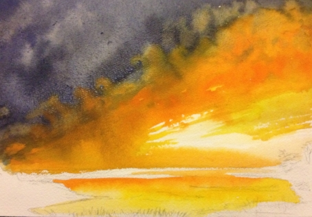 """Fire in the Sky, 6 1/2"""" x 9 1/2"""", Watercolor"""