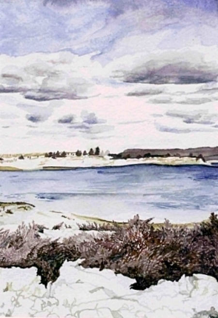"""Kings Park Bluff View, 11"""" x 8.5"""", Watercolor (SOLD)"""