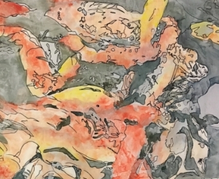 "Koi, 11"" x 8"", Watercolor"