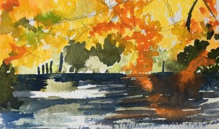 "Avalon Series, Autumn, 4 1/2"" x 7"", Watercolor"