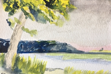 """San Remo in July, 4"""" x 6"""", Watercolor"""