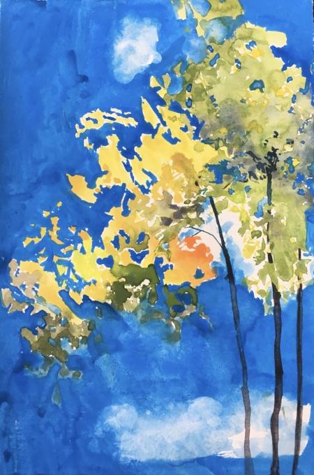 """Autumn leaves & Cerulean Blue Sky, 11"""" x 7"""", Gouache"""