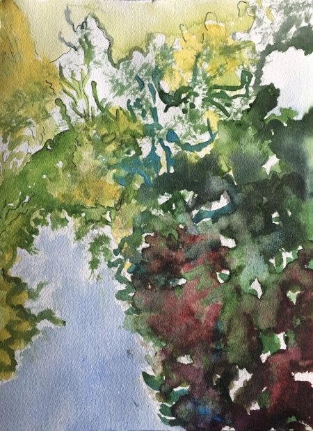 "Abstracted Greens (the shapes intertwine within), 12"" x 9"", Watercolor"