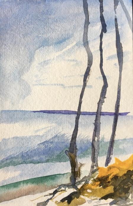 """Empty Kings Park Bluff, 8 1/2"""" x 5 1/2"""", Watercolor"""