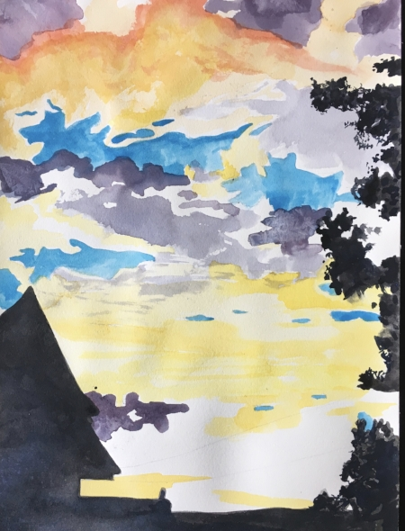 "Vermont Studio Center Sunset (Homage Jeni Lee), 12"" x 9"", Watercolor"