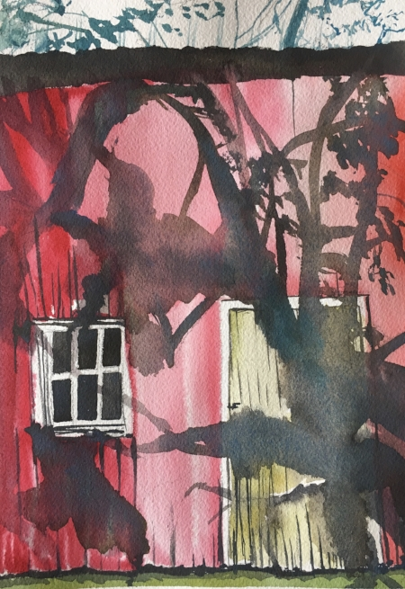"""Disturbing Shadows, 10 1/2 x 7 1/2"""", Watercolor"""