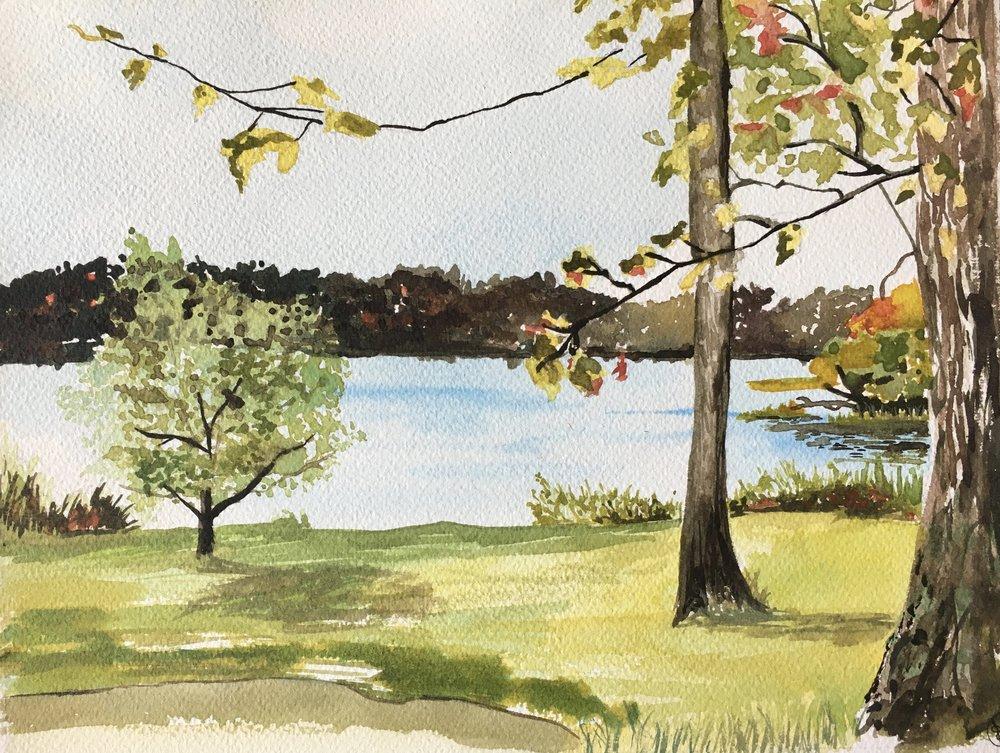 "Cold Spring Harbor, 7 1/2"" x 9 1/2"", Watercolor"