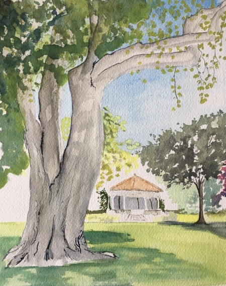 """Where IT was, 9"""" x 7 1/2"""", Watercolor"""