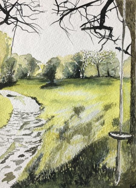 """swing, Feel the Breeze, 7 1/2"""" x 5 1/2"""", Watercolor"""