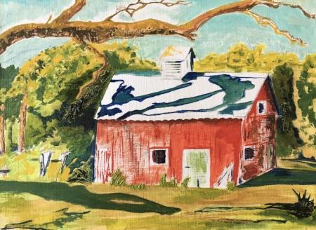 """Barn #28, 9"""" x 12"""", Oil on Canvas"""
