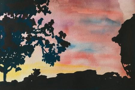 "Ships' Hole Farm Sunset, 6 1/2"" x 9 1/2"", Watercolor"