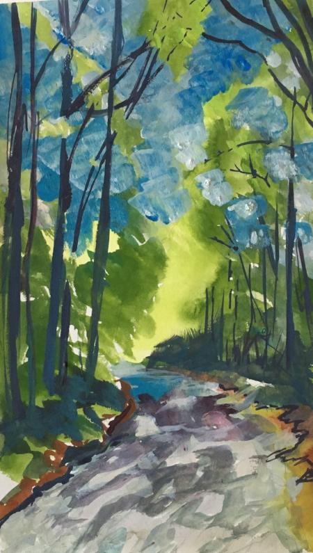 "Poets Path, 9 1/2"" x 6"", Gouache"