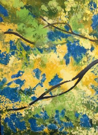 "Yellow Lime Trees, 40"" x 30"", Acrylic"