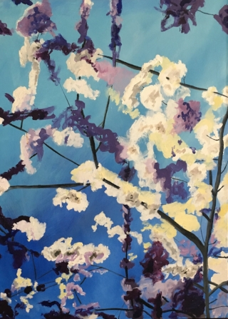 "SPRING: Cherry Blossom (LIU Brookville), 40"" x 30"", Oil and Acrylic"