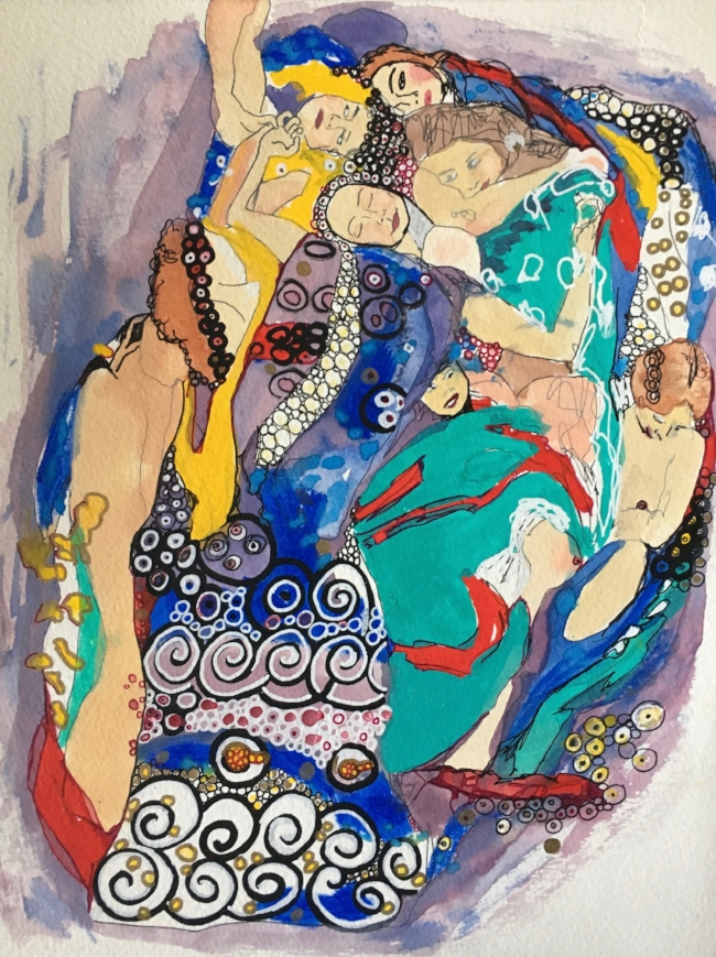 "Homage to Klimt: The Girls (The Virgin), 12"" x 9"", Acrylic & Gouache"