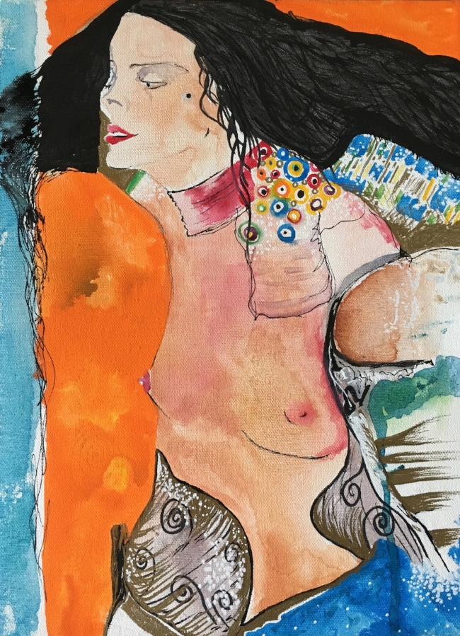 "Homage to Klimt #2, Salome (Judith II), 16"" x 12"", Mixed Media"