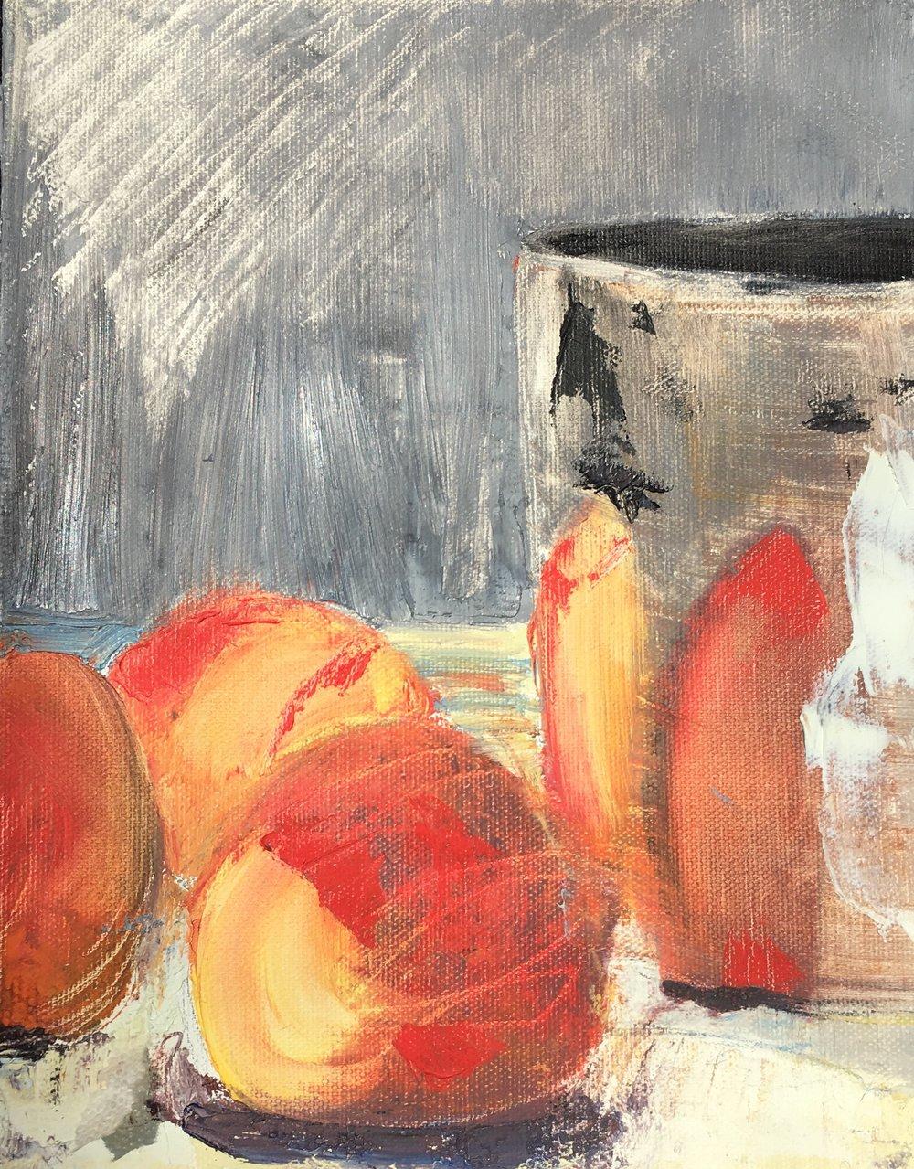 """Peachy Two, 10"""" x 8"""", Oil"""