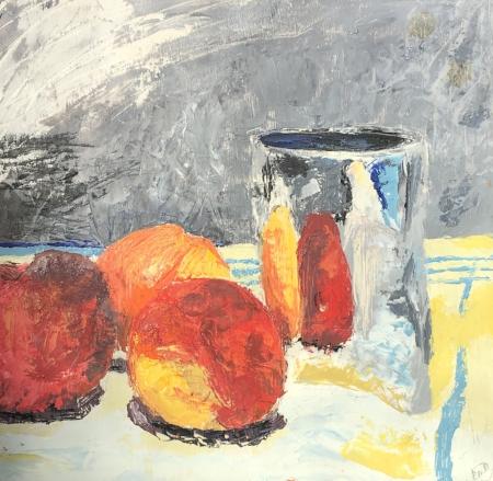 """Peachy Three, 11"""" x 11"""", Oil"""