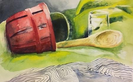 "The Bucket, 8"" x 11 1/2"", Watercolor"