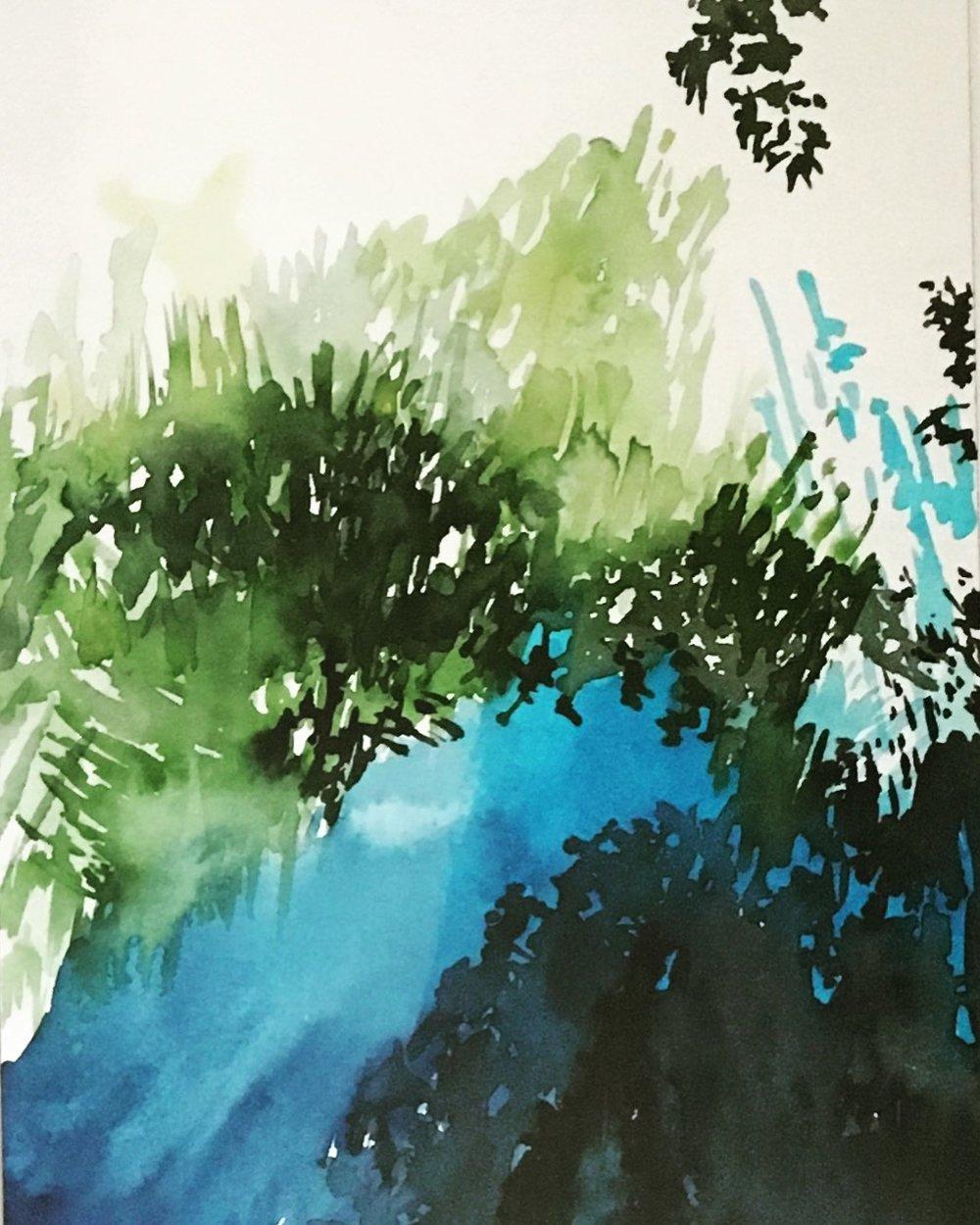 "Hecks #13, 17"" x 13 1/2"", Watercolor"