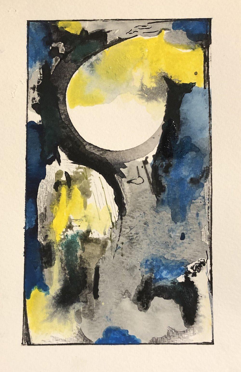 """Moon Light, 4"""" x 2"""", mixed media"""