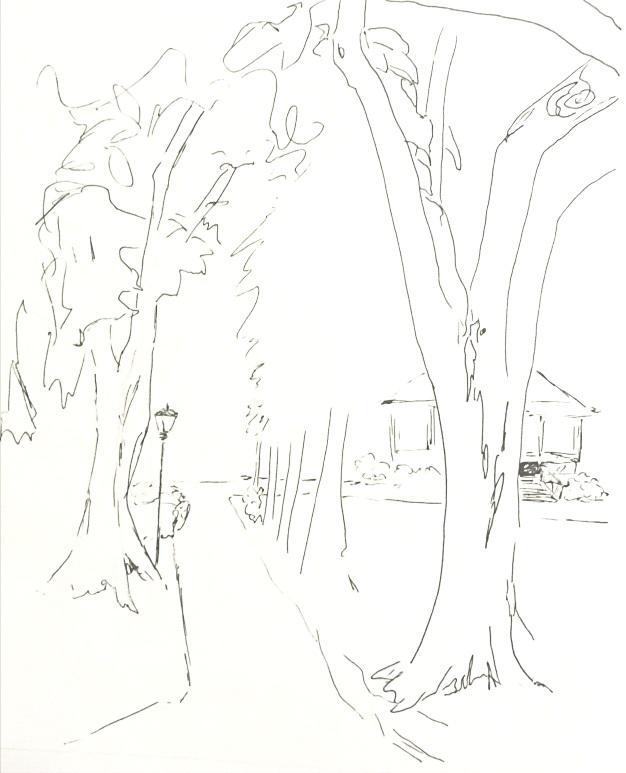 "Northport Harbor Gazbo, 11"" x 8 1/2"", Ink"
