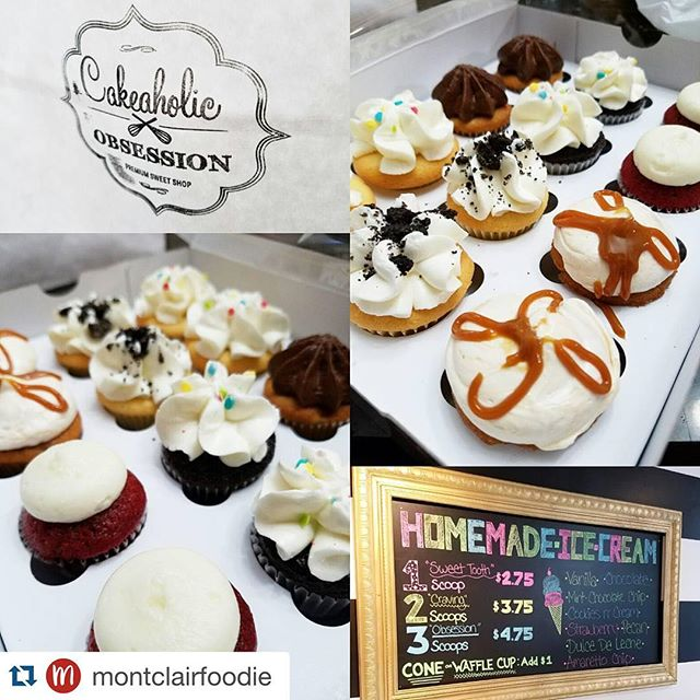 Ruining diets since 2015😜  #Repost @montclairfoodie with @repostapp. ・・・ Nothing like a lil #tastetesting on #TastyTuesday delicious #sweettreats from @cakeaholicobsession and they have HOMEMADE #Icecream ... cant wait to try their #Brownie  #bananadeleche #sweet #njeats #cookiesandcream #montclairnj #minicupcakes #cupcakes #montclairfoodie #redvelvet #chunkymonkey #chocolate #vanilla #birthdaycake #yummy