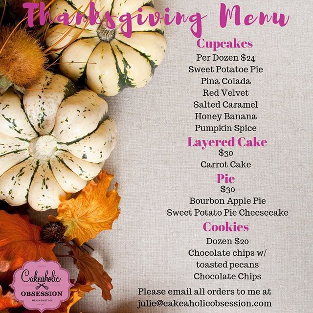 Just a few days left to place your thanksgiving orders. All orders have to be in by Sunday Nov 18th  #thanksgivingdessert #pies #cookies #cookies