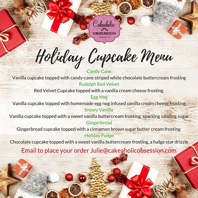 If you need to take a treat to a holiday party  this is the perfect treat.  Cupcakes are $30 a dozen  Email me to place your order.  #holidaymenu  #christmascupcakes #cakeaholicobsession