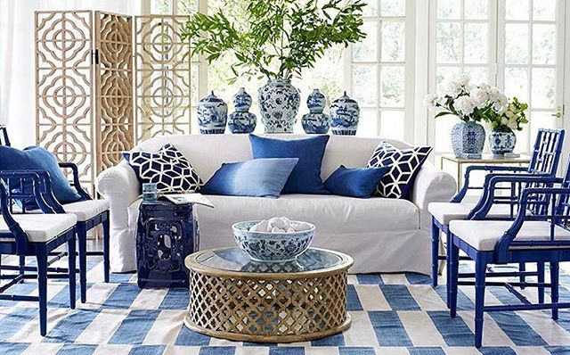 Bamboo & blue and white all make for a most perfect symmetrical space by  @wisteriahomedecor 💙  repost from @sariceamieeinteriors