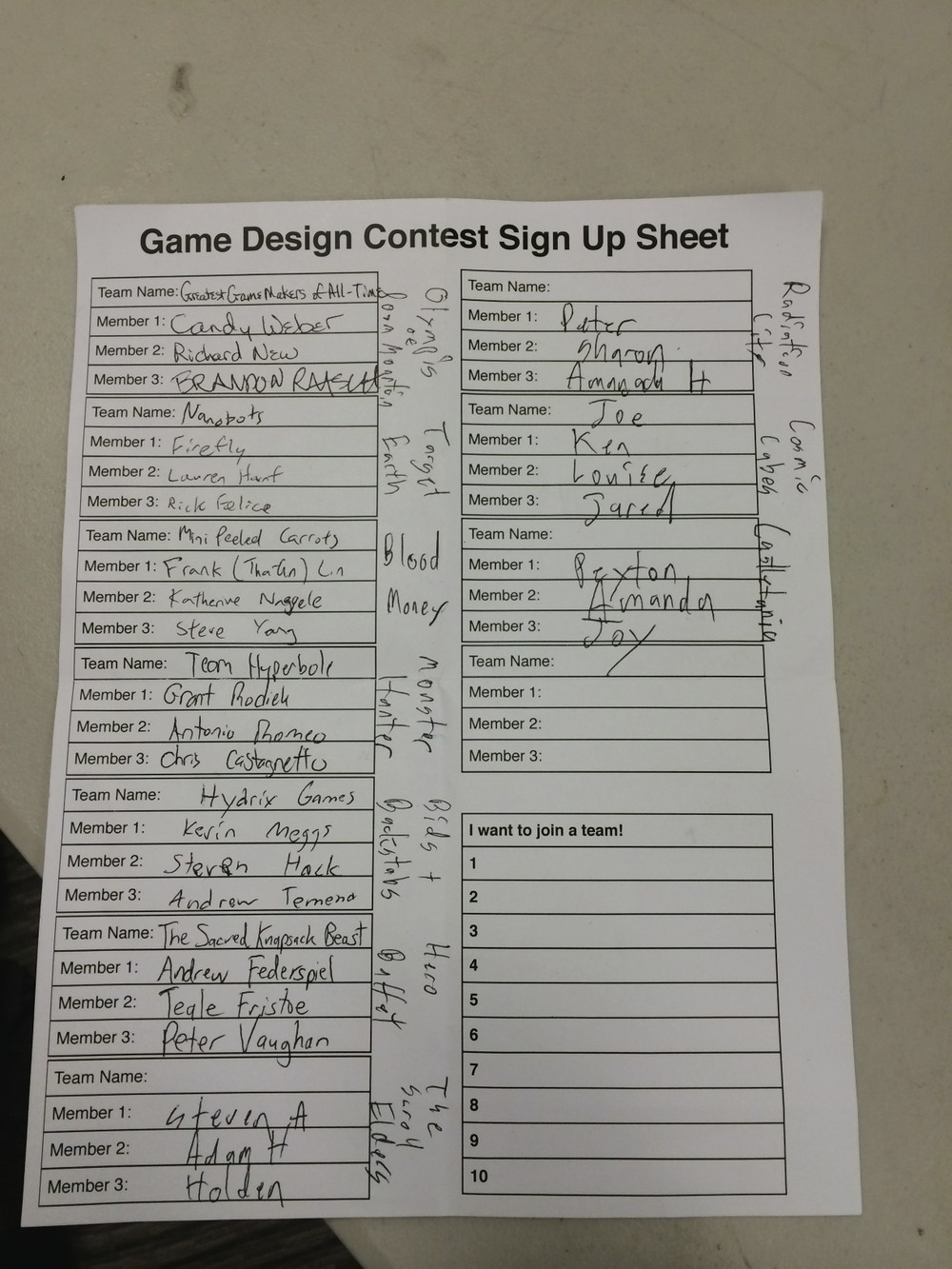 Game Design Contest Teams