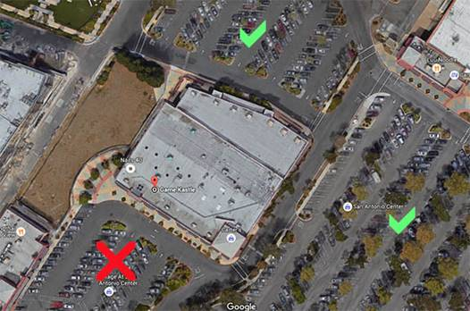 Please park where the green checks are. Leave red X parking for Trader Joe's.