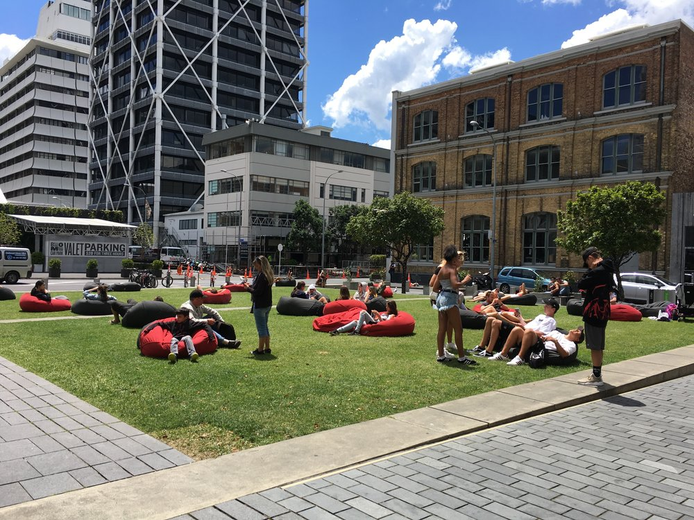 """Near """"Britomart,"""" people make use of beanbags for lounging. Brilliant."""