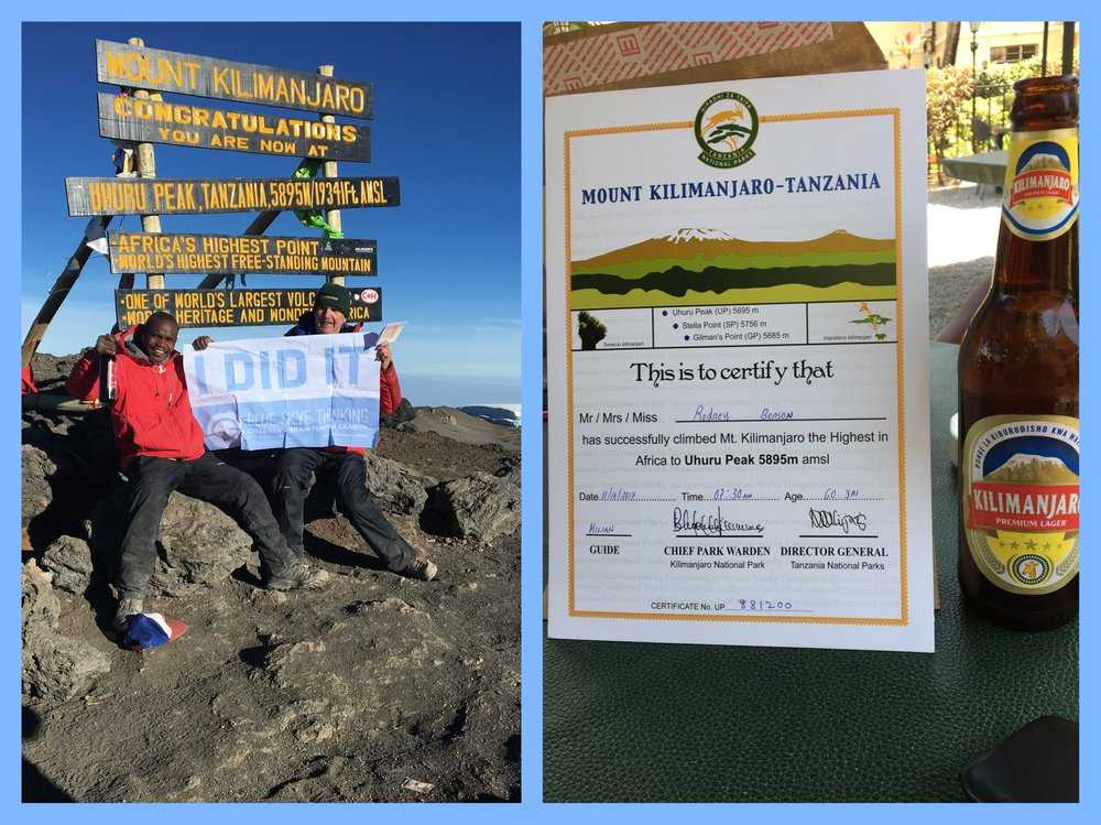 What better way to spend one's 60th Birthday than to have a beer at the summit of Mount Kilimanjaro!!!! We are blown away by Rodney Benson's commitment and enthusiasm for helping Charities.  What massively 'Blue Sky' approach to celebrating a birthday! Having raised £3,000, we think the beer should be on us!! https://www.justgiving.com/fundraising/roddybenson60