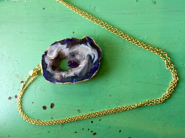 Rachel Keppeler Designs Geode Slice Necklace $50